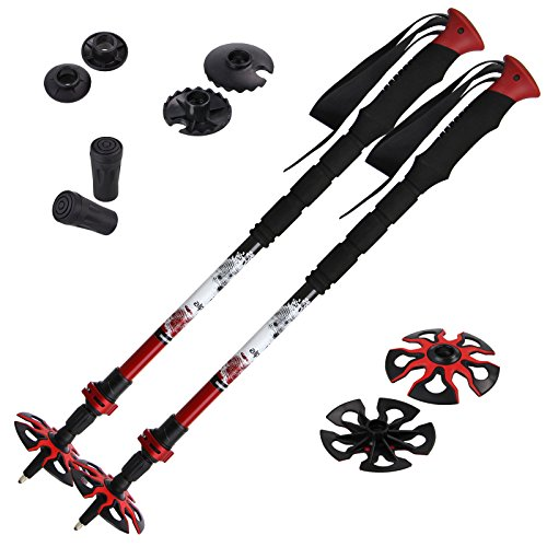 Alpidex Skitourenstock RED VARIO Teleskopstöcke aus Carbon Längenverstellbar 62 - 135 cm ergonomische, verlängerte Griffe Wolframspitze Klemmverschluss , Farbe:Black-Red