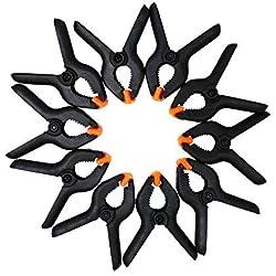 Suyizn ZK16 Lot de 10Pinces ressort prise extra forte en plastique et poignées texturées pour une utilisation facile, 5 cm