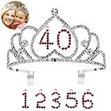 Frcolor Alles Gute zum Geburtstag Tiara Krone mit Kamm Crystal Strass Prinzessin Krone Stirnband mit austauschbaren Geburtstag Alter