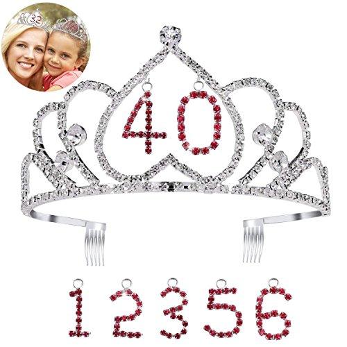 frcolor Happy Birthday Tiara Krone mit Kamm Kristall Strass Prinzessin Krone Stirnband mit austauschbarem Geburtstag