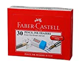 Faber-Castell Ink and Pencil Eraser - Pack of 30 (White and Blue)