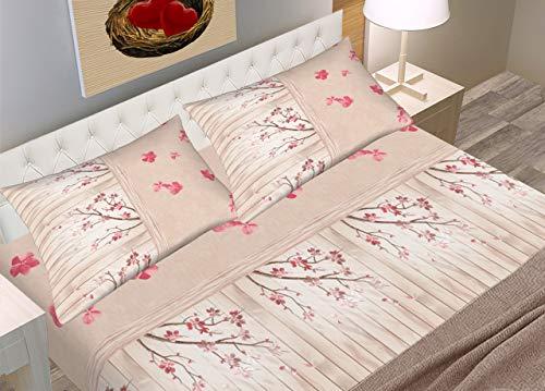 BIANCHERIAWEB Completo Lenzuola in Morbida Flanella Disegno Kyoto Modello C.N. Matrimoniale Rosa