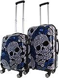 ABS Hartschalen Koffer mit Teleskopgriff und Zahlenschloss Farbe Skulls
