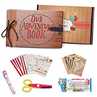 Upgraded Our Adventure Book Scrapbook Faux Wood Photo Album(80 Pages).Pixar Up Handmade DIY Family Anniversary Scrapbook, Wedding Travel Child