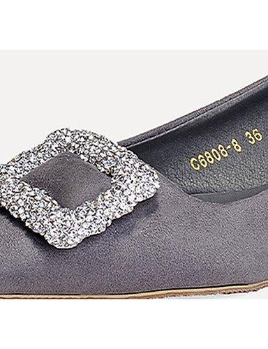 WSS 2016 Chaussures Femme-Décontracté-Noir / Gris / Multi-couleur-Talon Bas-Bout Carré-Mocassins-Laine synthétique black-us8 / eu39 / uk6 / cn39