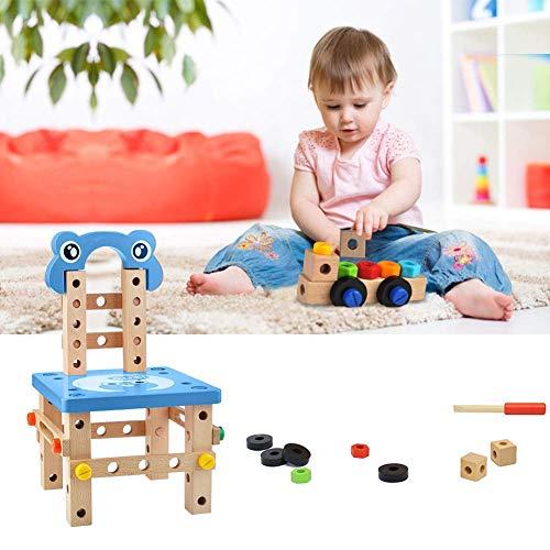 GEEDIAR Kinderstuhl Selbstbasteln Werkbank Kinder Holz Bauklötze Stuhl Holzhämmerchen Holzschrauben Montage und Demontage Spielzeug für Kinder ab 6