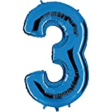 Ballon Zahl 3 in Blau - XXL Riesenzahl 100cm - für Geburtstag Jubiläum & Co - Drei - Party Geschenk Dekoration Folienballon Luftballon Happy Birthday