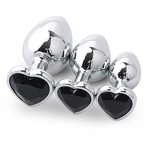 Sex Toys Binggong Sex Toys Anale pour Femme Hommes Femmes 3 Pcs Base en Forme de Coeur Acier Chromé Jeweled DéButants Butt Plug Petite Taille Chaud
