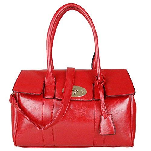 Miss Lulu Fashion, in finta pelle, con borsa a tracolla Rosso (rosso)