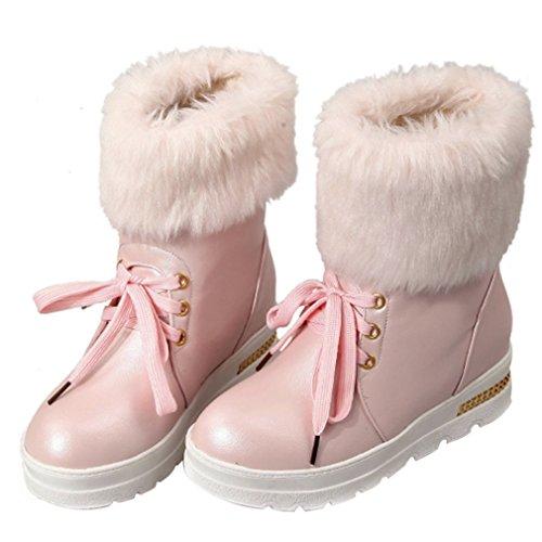 chaude mi bas sur Fourrure mollet rond neige bout Rose1 bottes soirée de rond Femmes robe à bout de les bottes talons ENMAYER pE0qUU