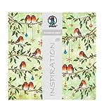 Ursus 703000312 - Premium Glitter Scrapbook paper Christmas robin, ca. 30,5 x 30,5 cm, 5 Blatt, Motiv 312