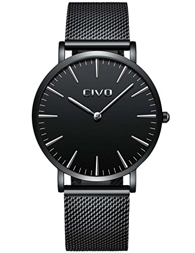 CIVO Herrenuhr Herren Damen Unisex Uhren Ultra Dünne Minimalistische mit Edelstahl Mesh Armband Wasserdicht Luxus Mode Armbanduhr Elegant Geschäfts Beiläufig Quarz Uhren (2 Schwarz)