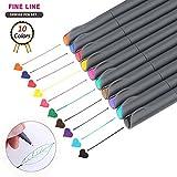 Aoyooh Fineliner Stifte Set mit 10 brillanten Farben Superfeine Linienbreite ca. 0.38 mm für Zeichnung Bullet Journal Geheimer Garten Malbuch und entspanntes Schreiben und Malen