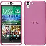 PhoneNatic Case kompatibel mit HTC Desire Eye - rosa Silikon Hülle transparent + 2 Schutzfolien