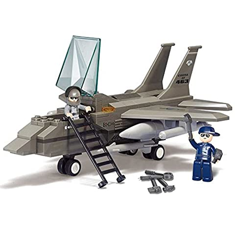 Army Air Force F15 Fighter Plane Building Bricks Set (142 Pieces)