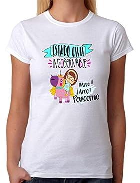 Camiseta Estado Civil Ingobernable. Camiseta de Mujer de ponicornio Divertida. Ideal para Destacar Entre Las Amigas...