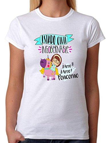 Camiseta Estado Civil Ingobernable. Camiseta de Mujer de ponicornio Divertida. Ideal para Destacar Entre Las Amigas. Unicornio