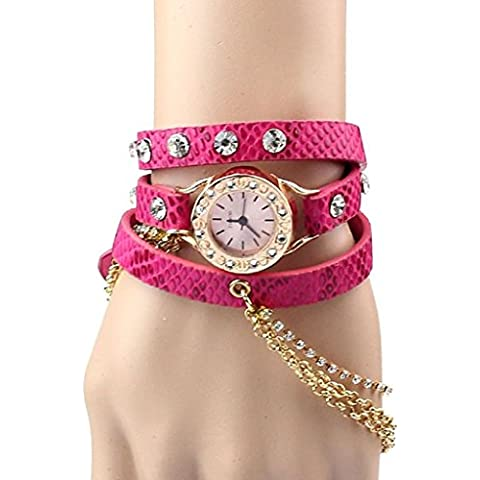 promiseu Bracciale in pelle donna strass Rivet catena quarzo orologio da polso Hot Pink - Cinturino Strass Guarda