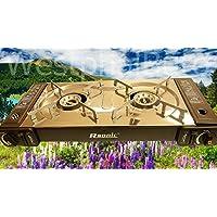 Angel Domäne RSonic - Parrilla Gas de Fuego Doble para Camping, 2 x 2.3 kW, 65,5 x 29.5 x 12 cm, Color Plateado