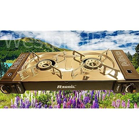 Angel Domäne RSonic - Parrilla gas de fuego doble para camping, 2 x 2.3 kW, 65.,5 x 29.5 x 12 cm, color plateado