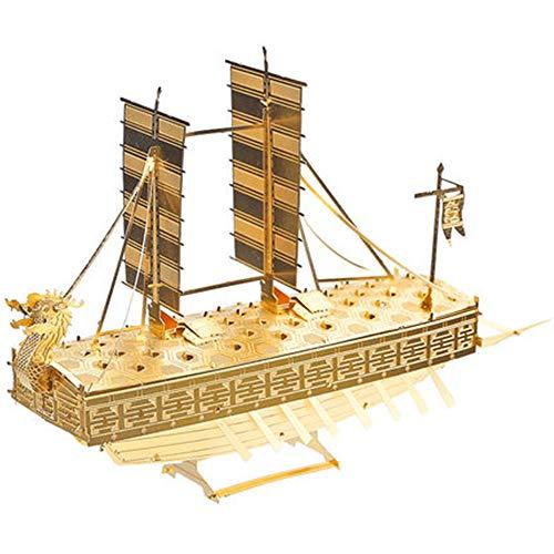 MQKZ Jigsaw Puzzle / Ersten Weltkrieg - Segeln / Metallmodell 3D-dimensionale Puzzle DIY handgemachtes Geschenk Schiff Adult Art / gelb + Werkzeug A + B / eine Größe -