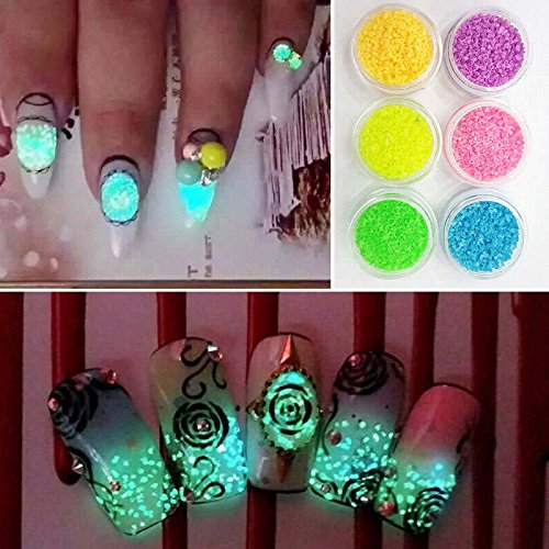 iDealhere Glitter Leuchtende Nagel Tipps Dekoration Maniküre (1#)