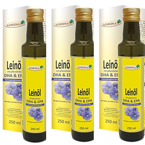 Adrisan Leinöl mit DHA & EPA - 3er Pack (3x 250 ml) - Nahrungsergänzungsmittel