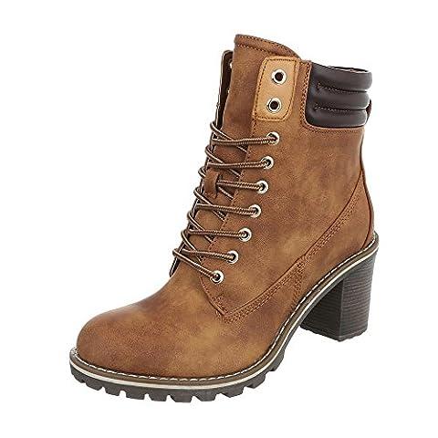Schnürstiefeletten Damen-Schuhe Combat Boots Pump Schnürer Schnürsenkel Ital-Design Stiefeletten Camel, Gr 39,