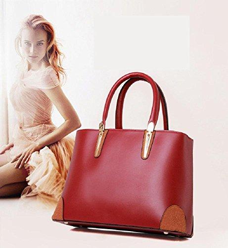 CELO La signora della moda borsa a tracolla minimalista immagine grande in pelle borsa a mano di qualità per il tempo libero pacchetto diagonale , brown wine red