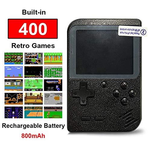 Flybiz Console di Gioco Portatile, Console retrò FC, Console di Gioco Retro LCD Classico da 3,0 Pollici, 400 Giochi Retro FC Game Player Console per Videogiochi con Carica USB per Bambini Amici(Nero)