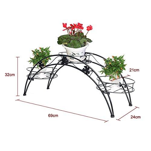 Elegante struttura per piante o vasi di fiori, in ferro nero