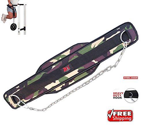 Cinturón 2Fit con cadena para musculación, levantamiento de pesas, cinturón para gimnasio, apoyo lumbar, diseño de camuflaje, mujer, Green camouflage