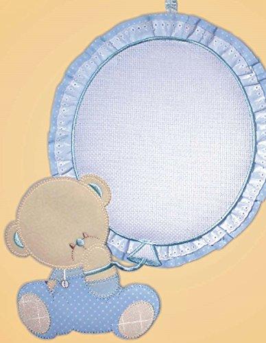 Fiocco nascita palloncino con tela aida 55 fori (azzurro)