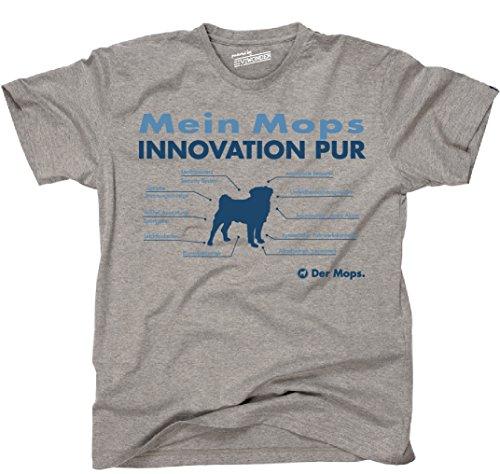 Siviwonder Unisex T-Shirt INNOVATION MOPS TEILE LISTE Hunde lustig fun Sports Grey