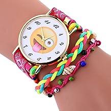 KanLin1986 Elegante lindo emoji patrón señora weave brazalete reloj de pulsera (Rosa caliente)