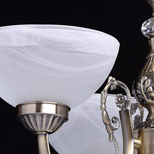 Kronleuchter klein 3 flammig antik messingfarbig matte weiße Glassichrme - 7