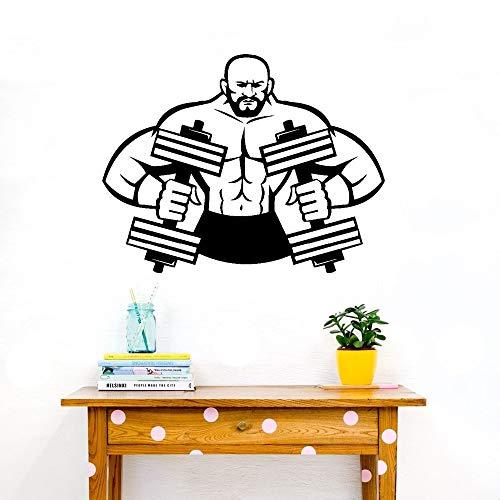 wandaufkleber 3d Wandtattoo Schlafzimmer Fitness Gym Sport Muscle Man Kurzhantel Langhantel Bodybuilder Art Dekor für Wohnzimmer Schlafzimmer