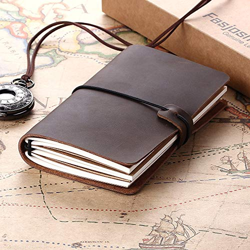 Leather Writing Journal Notebook Refillable, Pocket Vintage Leather Travel Journal Diary 5.2' x 4', Antique Handmade Travelers Notebook to Write in for Men & Women