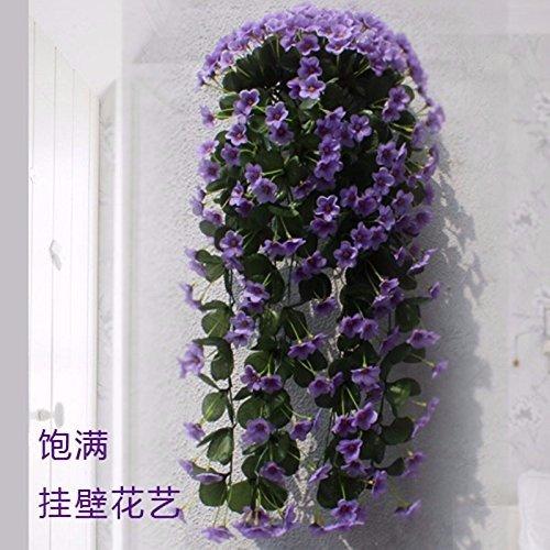 Meili flower simulazione outdoor fiori fiori viola floreali pendenti cesta appesa fiore parete parete floreale di fiori di decorazione a parete a flangia