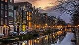 Stampa Poster da Parete, Night in Amsterdam Poster Personalizzato 40X60 Senza Cornice