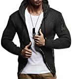 LEIF NELSON Herren Strick-Jacke mit Reißverschluss | Casual Strick-Hoodie Lang Slim Fit | Männer Strick-Cardigan Langarm Kleidung Männer
