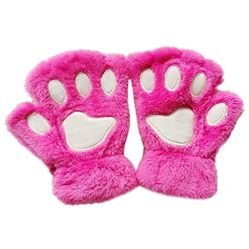 Junlinto Frauen Mädchen Schöne Katze Pfote Kralle Dicke Halb Fingerlose Handschuhe Flauschigen Plüsch Handschuh-PINK -
