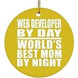 MOM aus, Web-Entwickler von Day World 's Best Mom by Night–Keramik Kreis Ornament, Weihnachtsbaum Dekor, beste Geschenk für Mutter, Mum, Ihr, Eltern von Tochter, Sohn, Kind, Mann - Einheitsgröße - Altgold