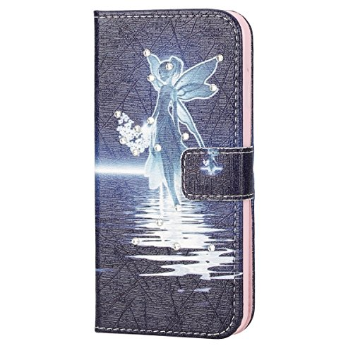 iPhone SE Hülle,iPhone 5S Hülle,iPhone 5 Hülle, SainCat PU Leder Hülle Wallet Case Ledertasche Brieftasche handyhülle im BookStyle Folio Schutzhülle Painted Muster Hülle Bling Glitter Diamant Bumper H Diamant-Engel