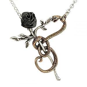 A Rose For Eve Anhänger – Schlange & schwarze Rose – Alchemy Gothic in England