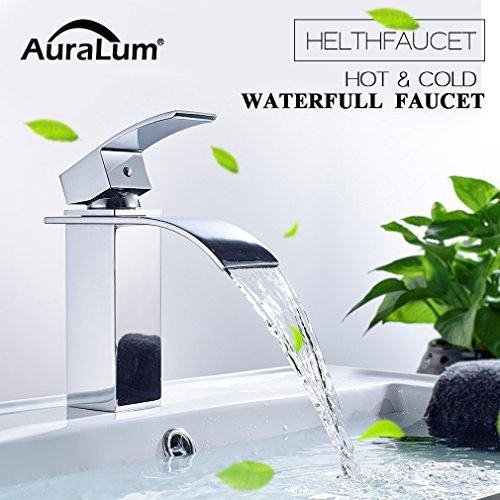 Auralum® Quadra-Einhebel Wasserhahn Kupferkörper Mischbatterie geeignet für Badezimmer und Küche Sparend 60% Wasser 2 Jahren Garantie