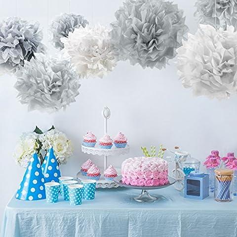 PUMPKO 10 Pompons Premium en papier de soie pour votre mariage | Pompons pour la déco des fêtes d'anniversaire | Fleurs de papier pour un événement spécial | Pompons de couleurs pastel (gris, gris clair et blanc)