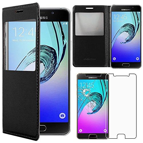 ebestStar - Compatibile Cover Samsung A5 2016 Galaxy SM-A510F Custodia Portafoglio Protezione Libro Flip con Finestra View, Nero + Pellicola Vetro Temperato [Apparecchio: 144.8 x 71 x 7.3mm, 5.2'']