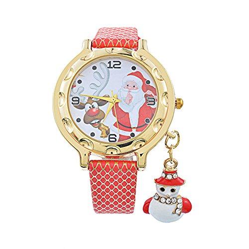 Souarts Damen Armbanduhr Einfach stil Weihnachtsmann Muster Schneemann Anhänge Analoge Quarz Uhr mit Batterie Rot (Einfache Schneemänner)