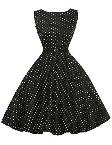 GK Factory Store  Damen Vintage Kleid besitzen hochwertigen Stoff und gute Verarbeitung. Ob Maxikleid, Knielanges Kleid oder Minirock, gibt es immer eins, das Ihnen gefällt und zu Ihrem Stil passt!  Über das Kleid: - Material: 96% Baumwolle + 4% Span...
